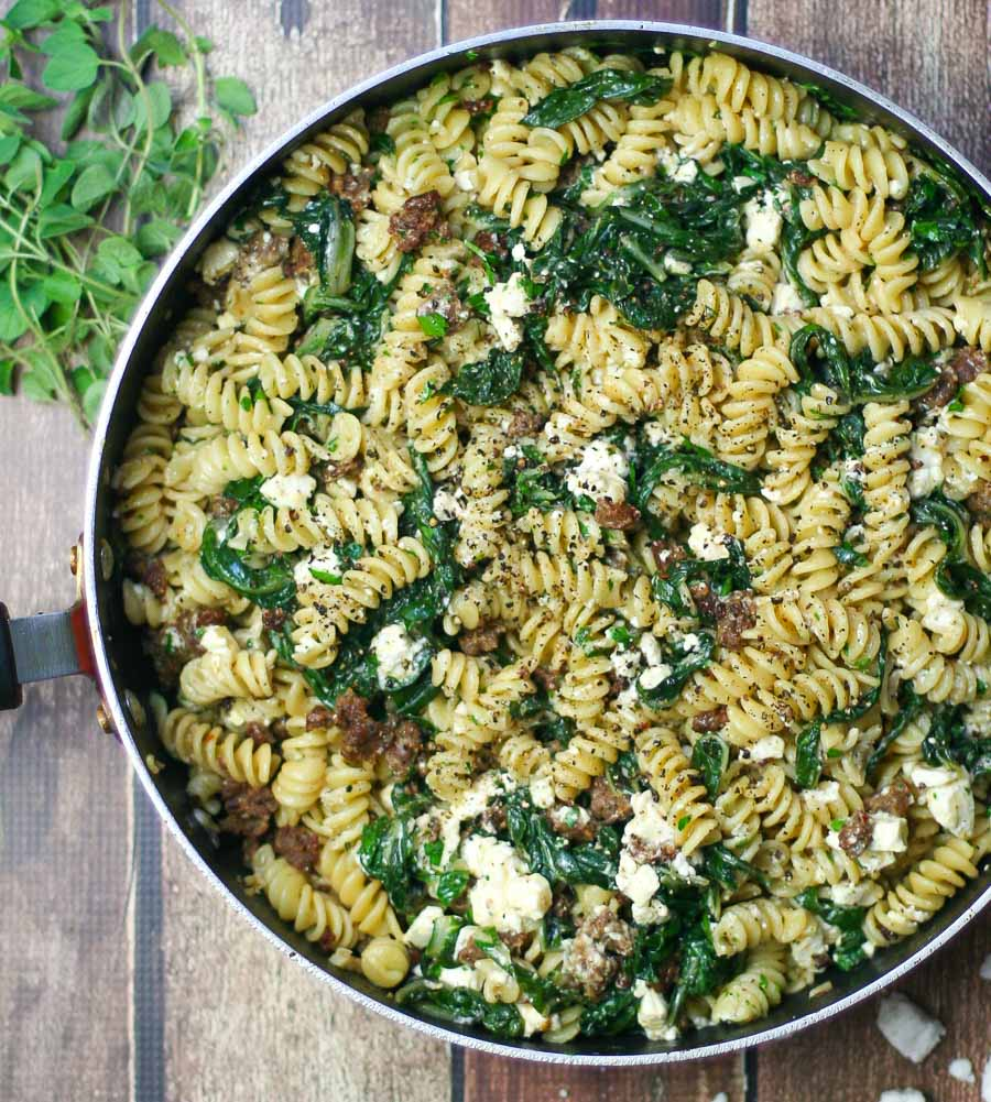 Fusilli with Spicy Sausage and Swiss Chard