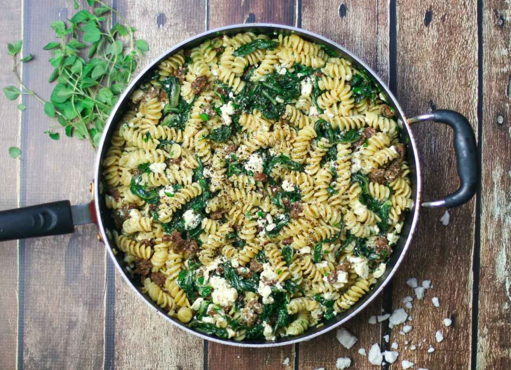Fusilli with Sausage and Swiss Chard - an easy family favorite!