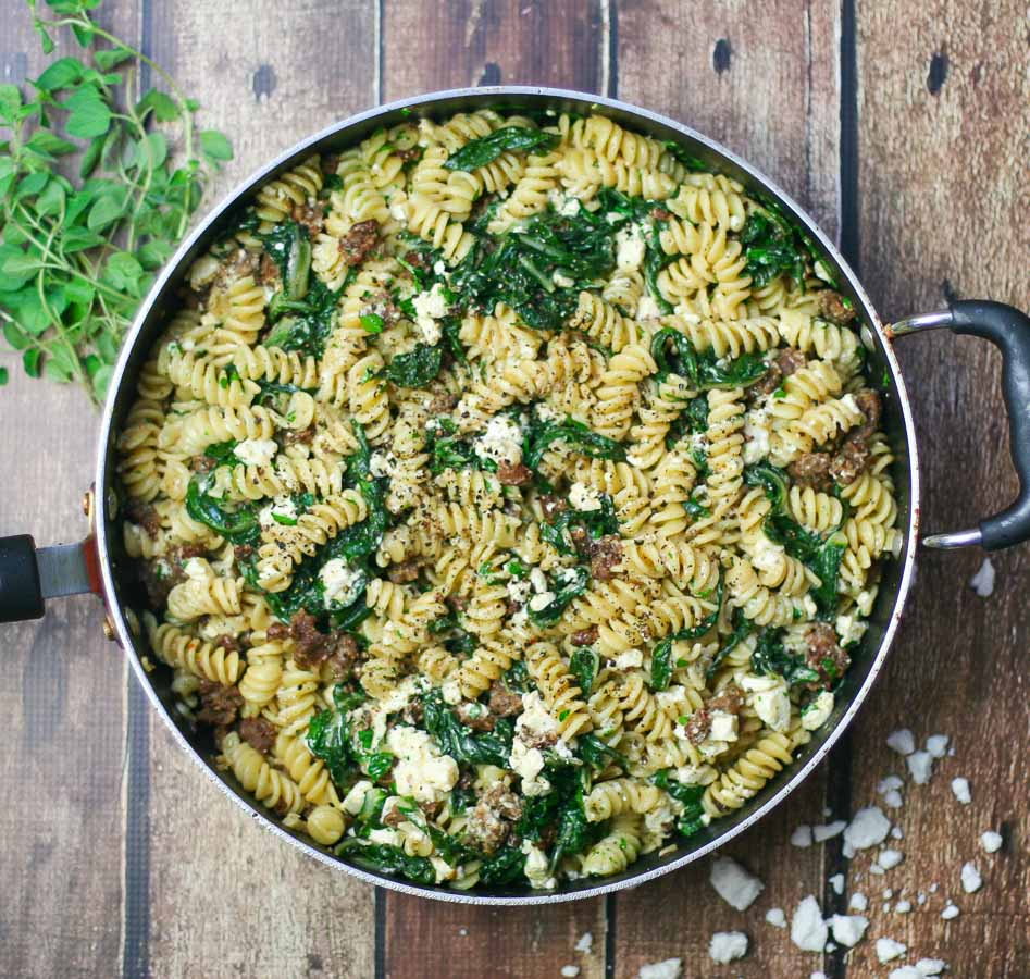 Warm Pasta with Tangy Feta Cheese, Spicy Sausage, and Tender Swiss Chard