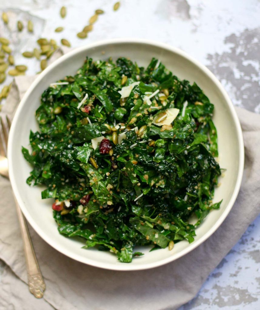 Kale Salad with Cranberries and Pepitas Recipe