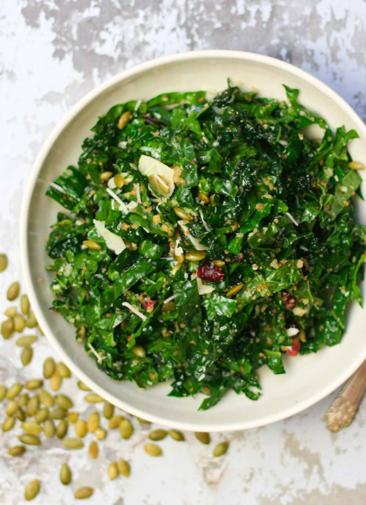 Kale Salad Recipe with Cranberries, Pepitas, and Garlic Breadcrumbs