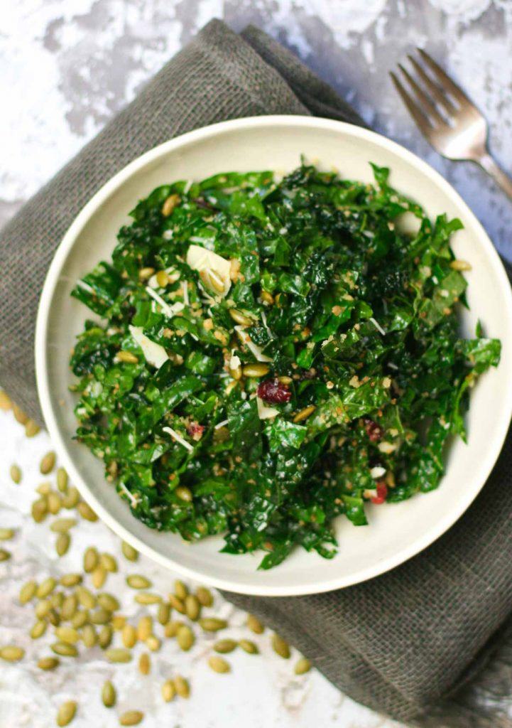 Easy Kale Salad with Cranberries and Pepitas
