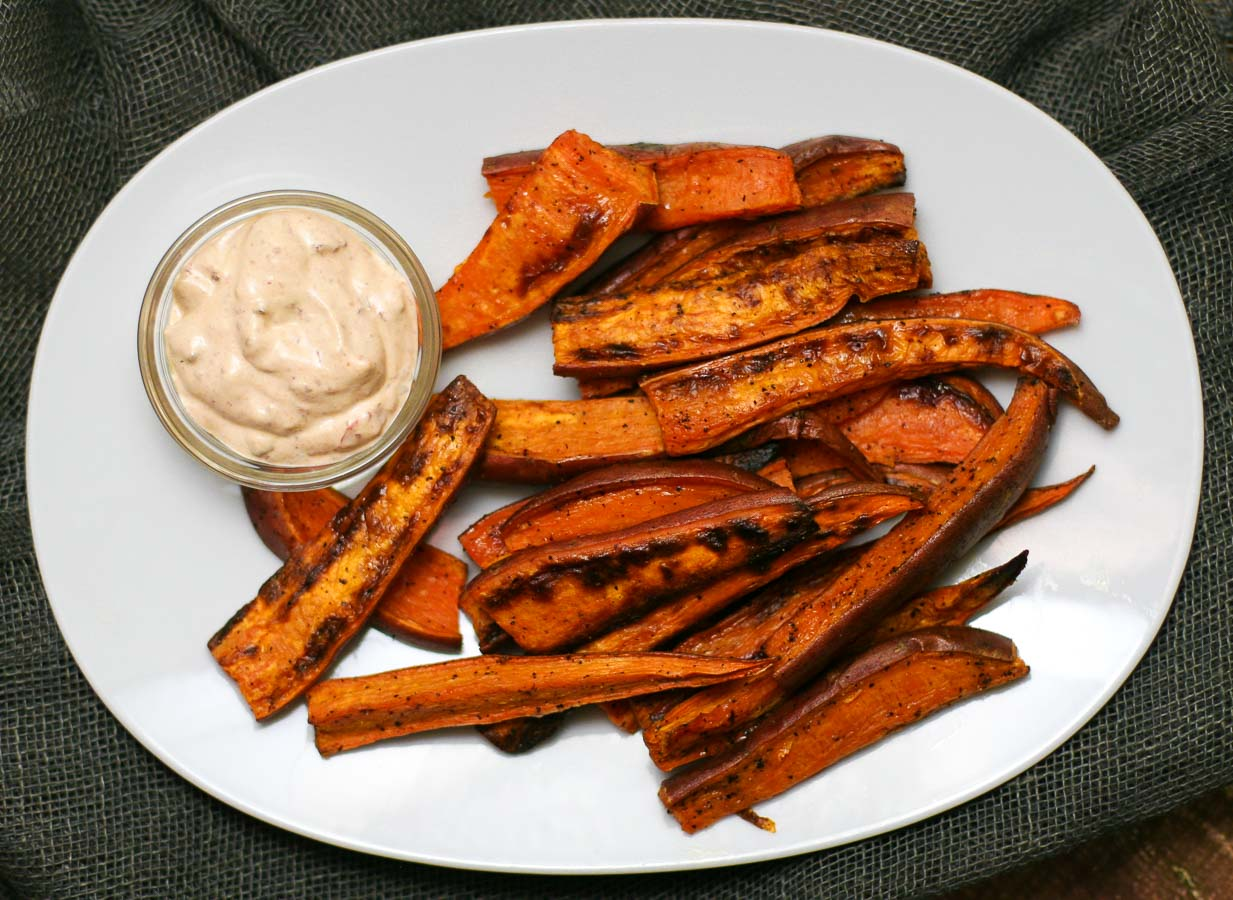 Baked Sweet Potato Wedges with Chipotle Aioli - Erica Julson