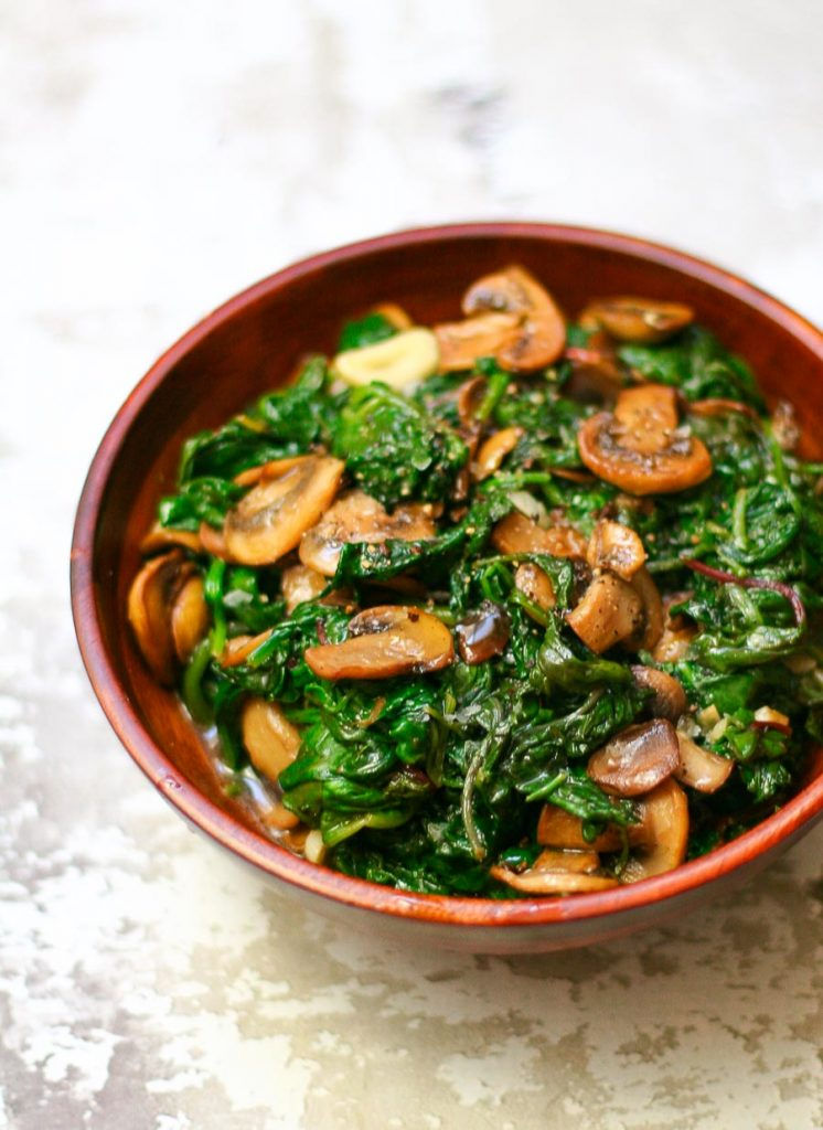 Easy Sauteed Greens and Mushrooms