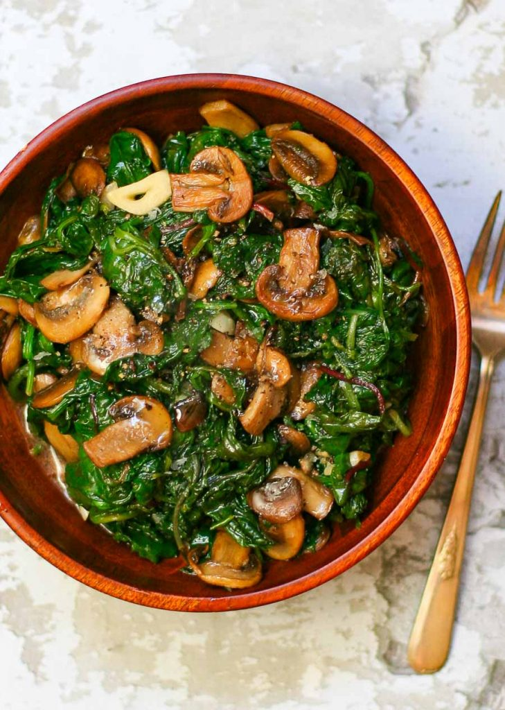 Sauteed Power Greens and Mushrooms - seasoned with lemon and garlic.