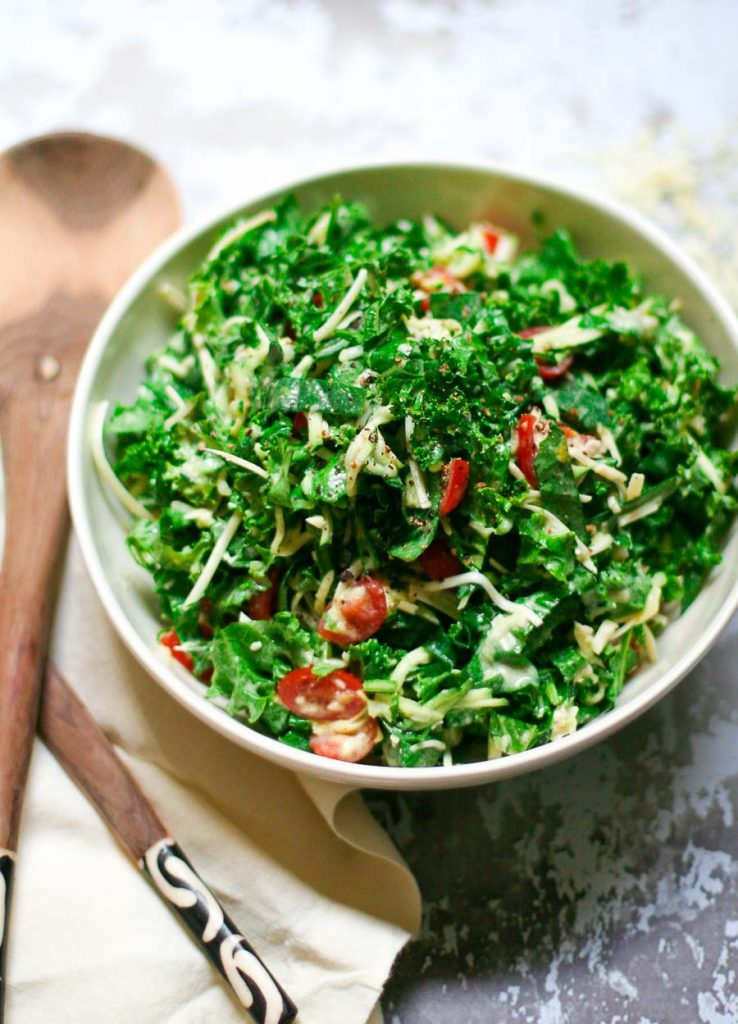 Kale Slaw with Zucchini and Creamy Dressing