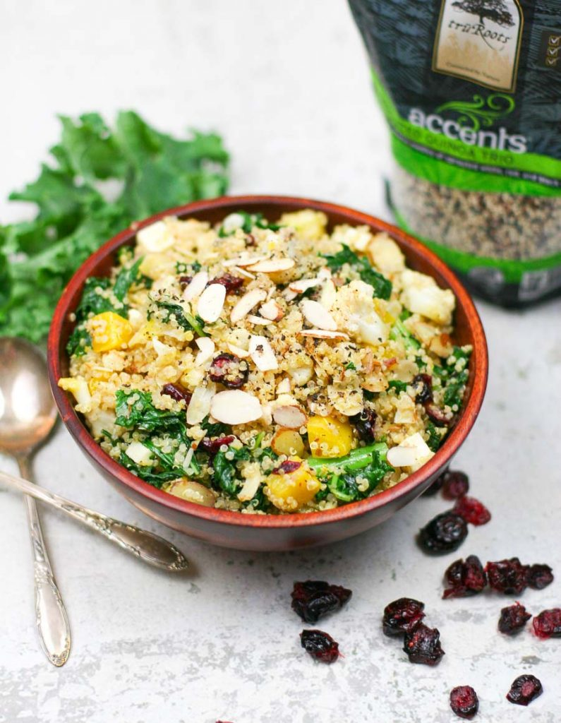 Kale and Quinoa Salad with Cranberries, Golden Beets, and Toasted Almonds